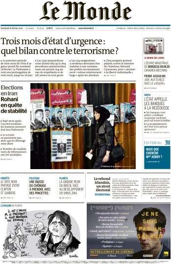 Le Monde du Vendredi 26 Février 2016
