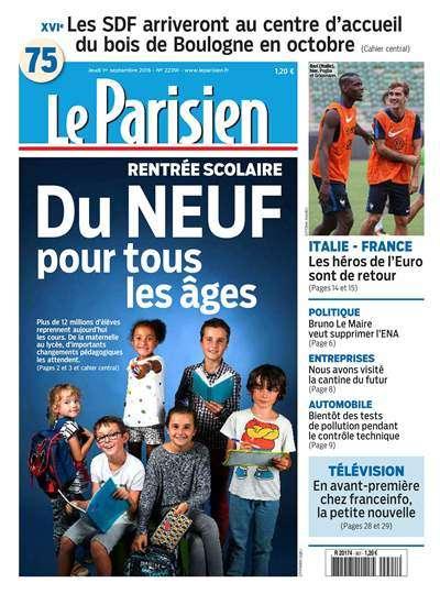 Le Parisien et Journal de Paris du Jeudi 1 Septembre 2016