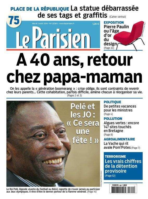 Le Parisien et Journal de Paris du Mardi 2 Août 2016