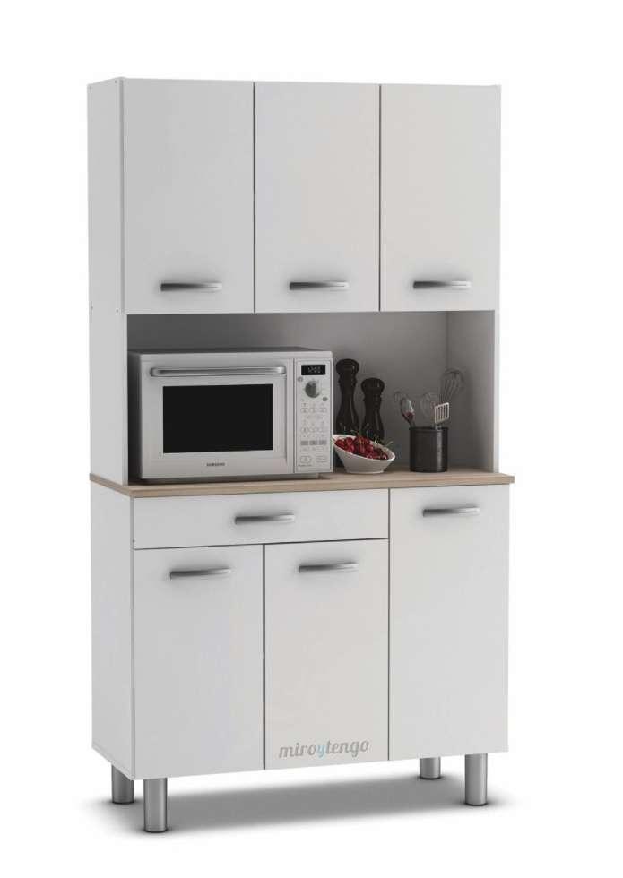 armario alto aparador de cocina 6 puertas blanco y estante