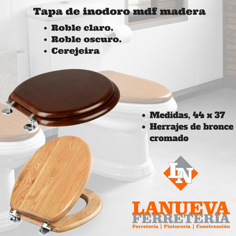 Tapa asiento de inodoro water mdf madera laqueada 990 for Tapa inodoro madera