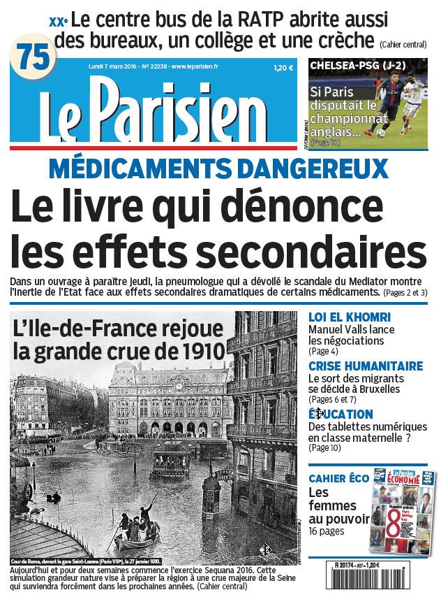 Le Parisien + journal de Paris du Lundi 7 Mars 2016