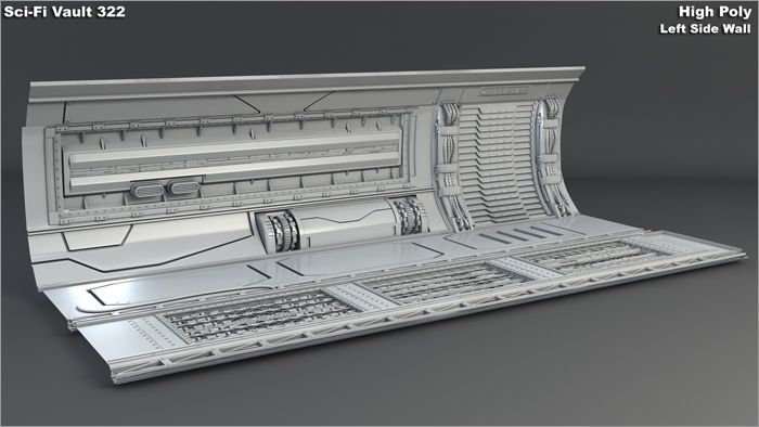 High Poly Vault 322 Right Wall Grey