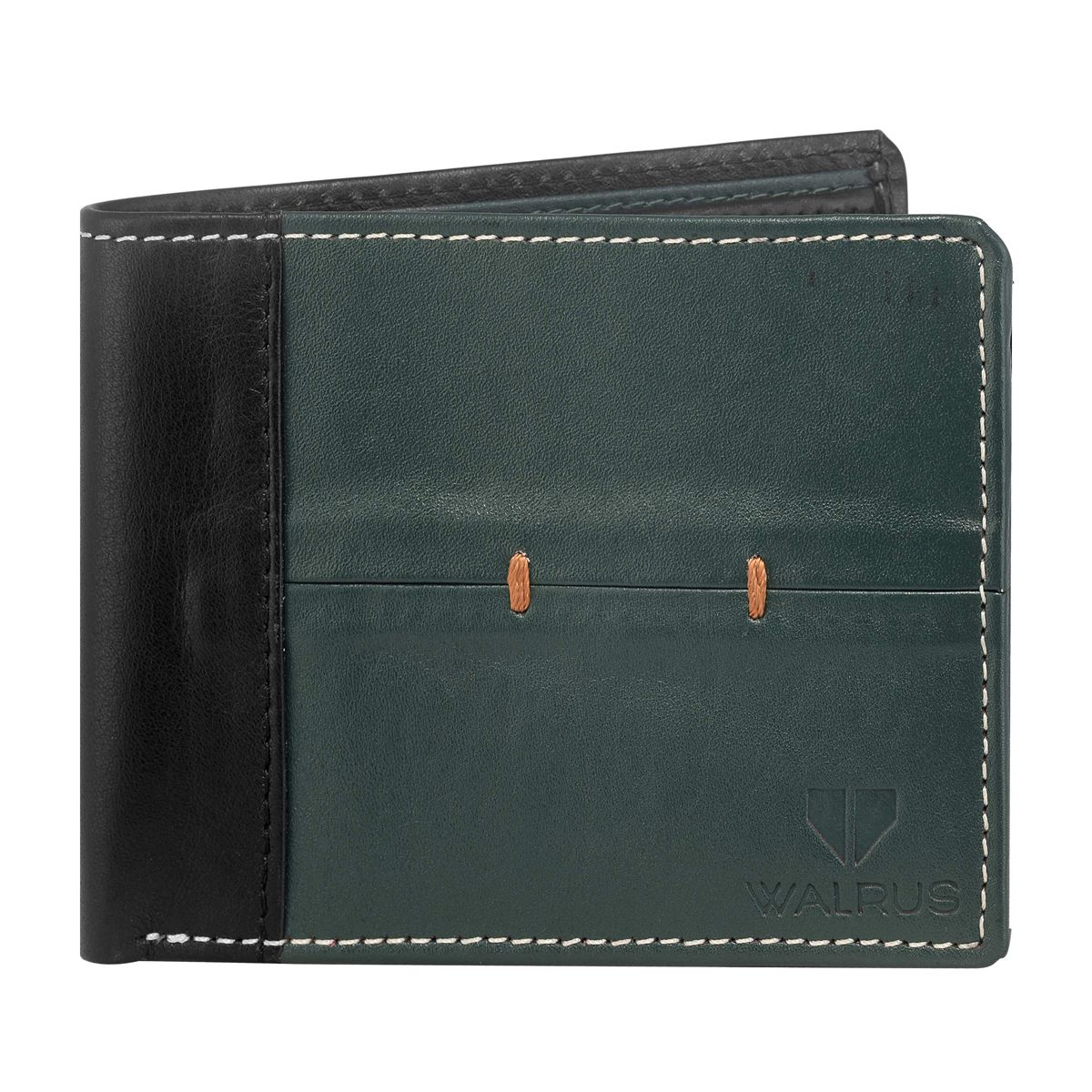 Walrus Marverick Green & Black Color Men Leather Wallet- WW-MVK-0402
