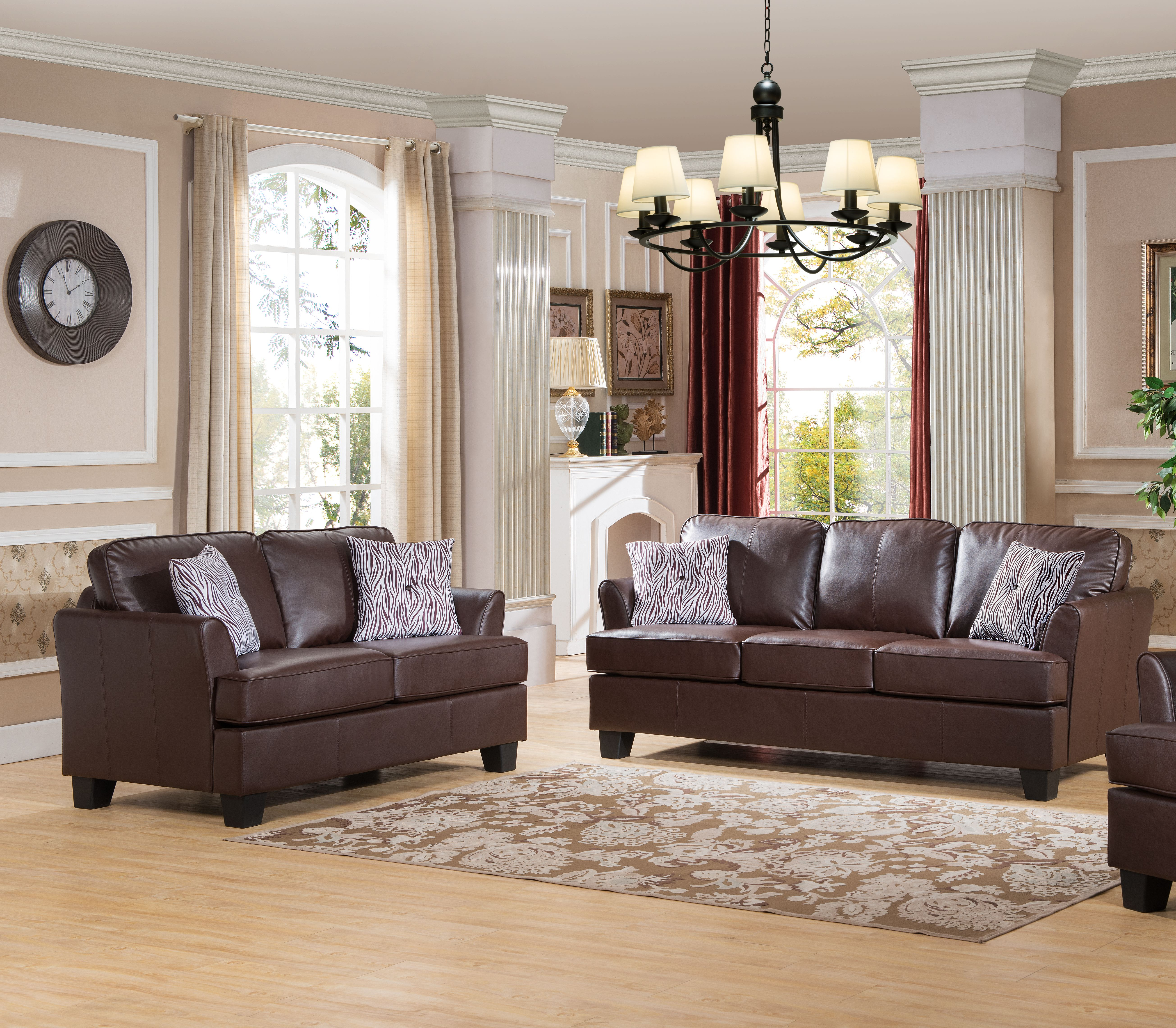 Superieur Details About Brown Upholstered Faux Leather Wood Stationary Living Room  Set (Loveseat, Sofa)