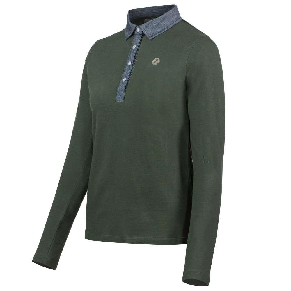 Horze Hazel Women/'s Long Sleeve Polo Shirt with Metallic Press Buttons