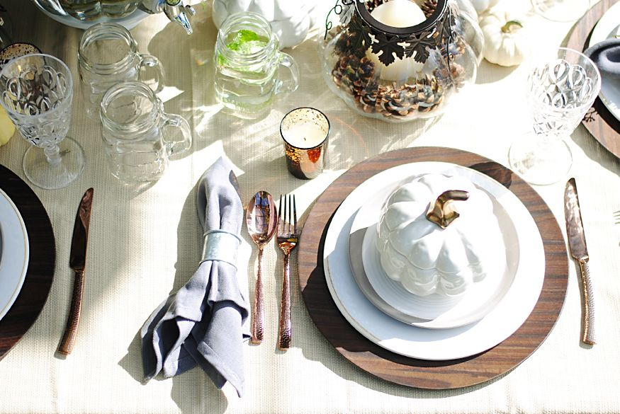 Mix-and-match casual Fall table setting