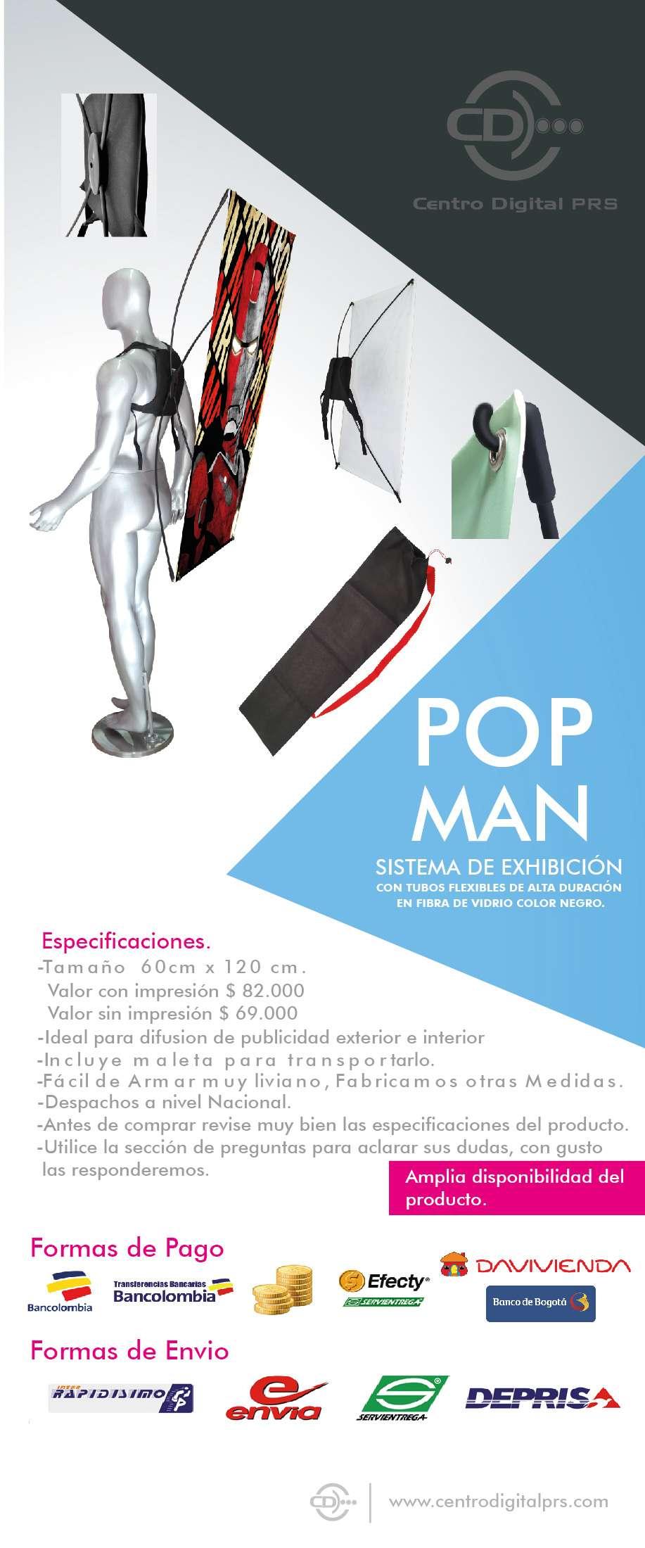 Porta Pendon POP MAN En Fibra de Vidrio de 60 cm x 120 cm.