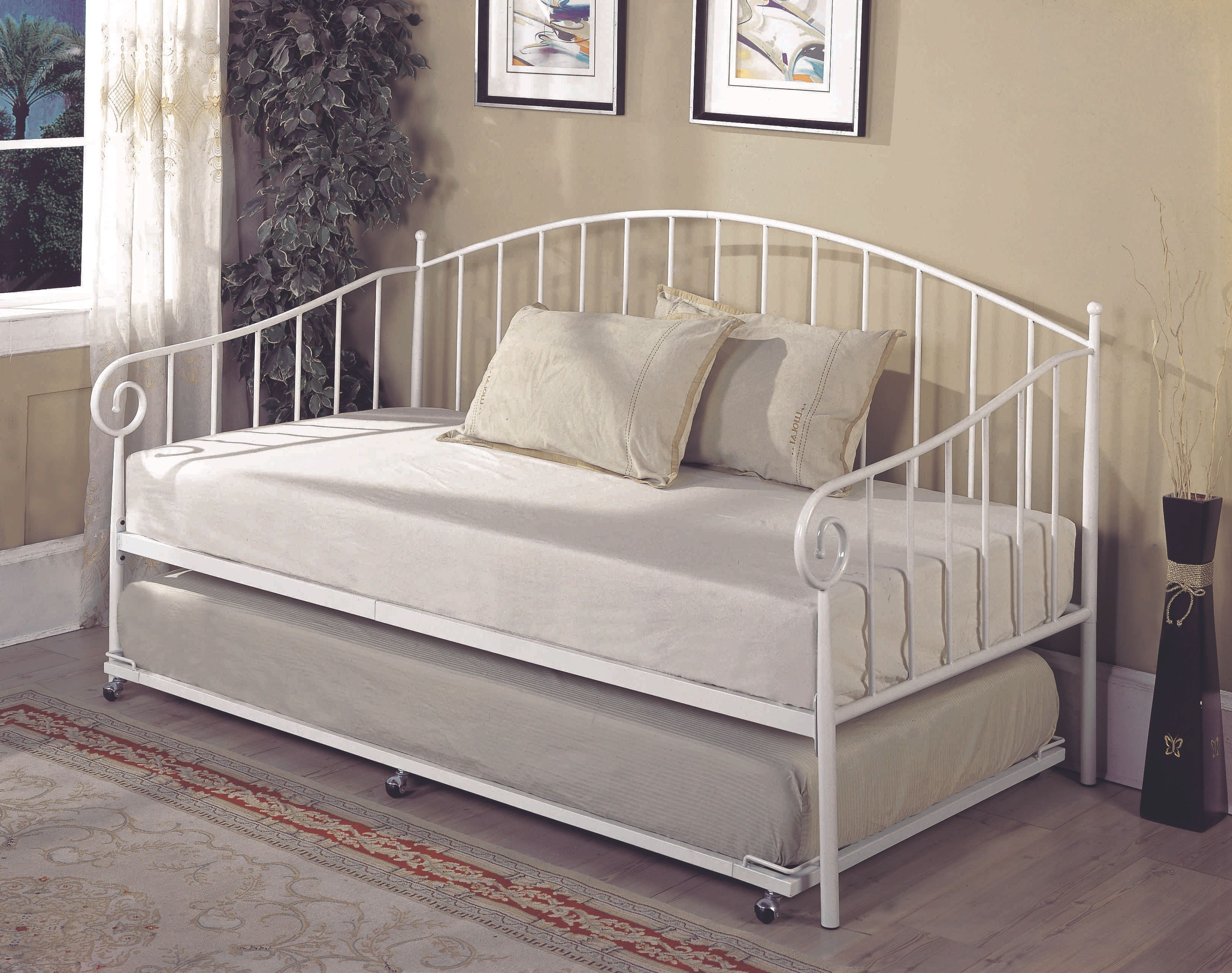 Twin Size White Metal Day Bed Frame With Pop-Up High Riser Trundle ...