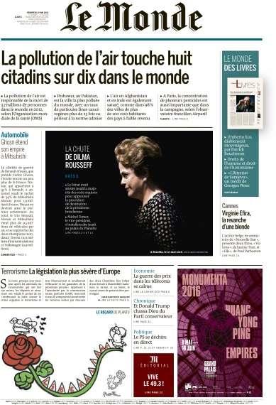 Le Monde du Vendredi 13 Mai 2016