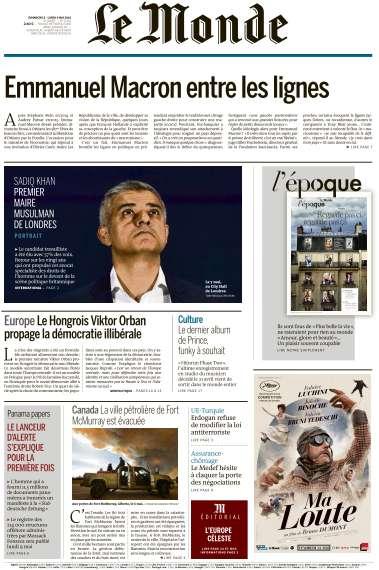 Le Monde du Dimanche 8 et Lundi 9 Mai 2016