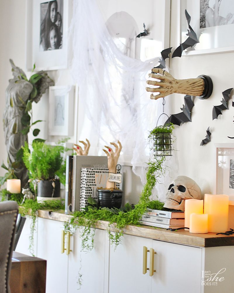 Haunted dining sideboard decor