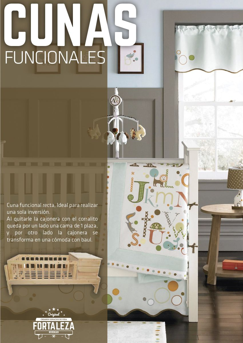 Cuna funcional de pino rosario, cuna de pino, la fortaleza muebles