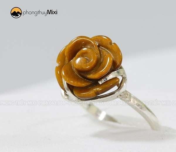 Nhẫn bạc hoa Mẫu Đơn Mắt hổ vàng nâu
