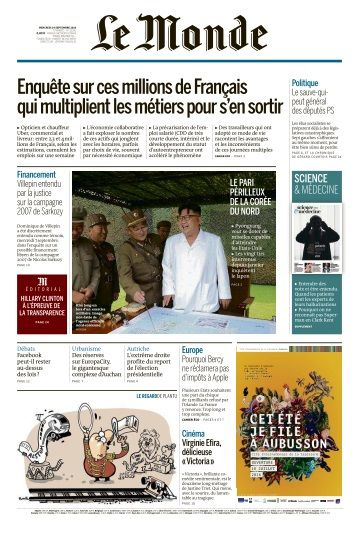 Le Monde du Mercredi 14 Septembre 2016