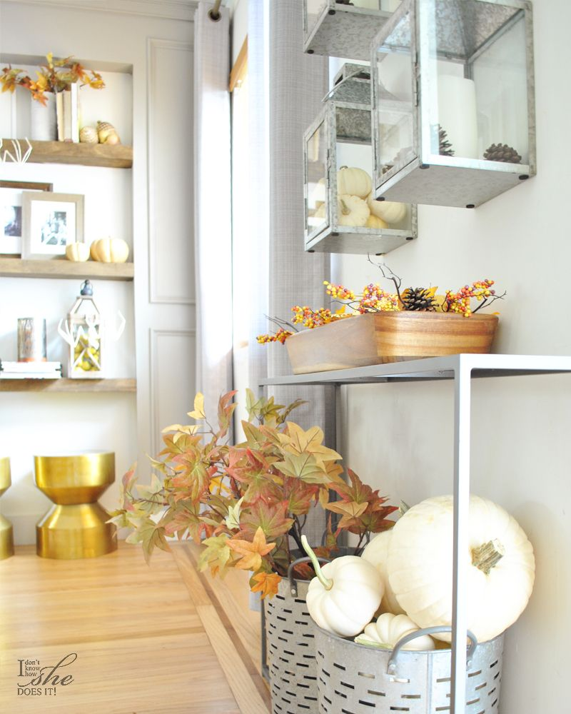 Fall entryway with lanterns and pumpkins