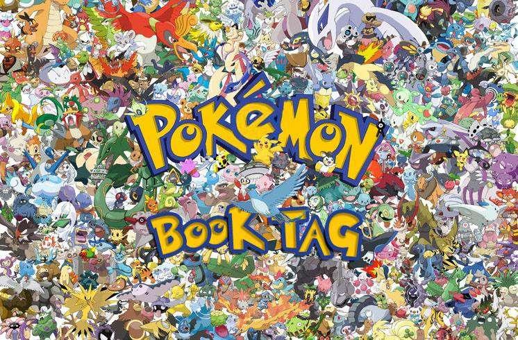 Imagen del Pokemon BookTag, donde se ven a un gran número de Pokemon juntos y comprimidos, con las letras de color amarillo oro y borde azul.