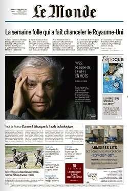 Le Monde du Dimanche 3 et Lundi 4 Juillet 2016