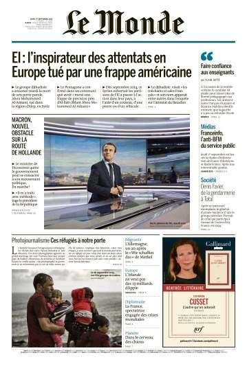 Le Monde du Jeudi 1 Septembre 2016