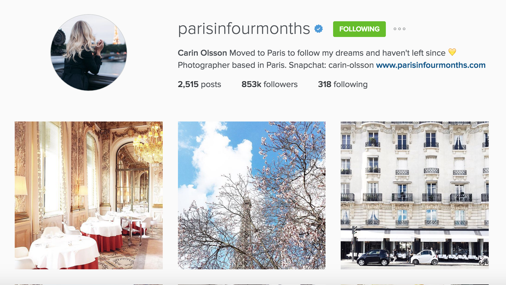 instagram cariboo paris account paris in four months carin olsson
