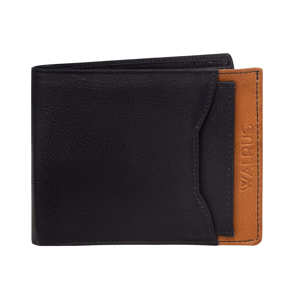 Walrus Martian Black & Tan Color Men Leather Wallet- WW-MRTN-0216