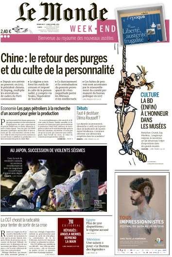 Le Monde du Dimanche 17 et Lundi 18 Avril 2016
