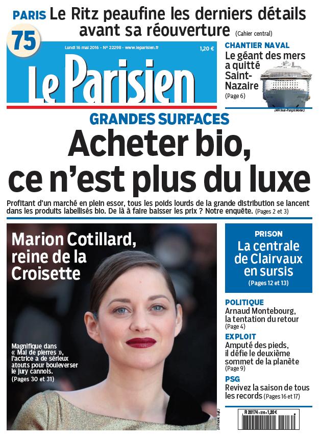 Le Parisien + Journal de Paris du Lundi 16 mai 2016