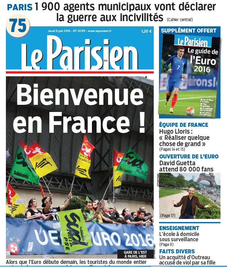 Le Parisien + Journal de Paris du Jeudi 9 Juin 2016
