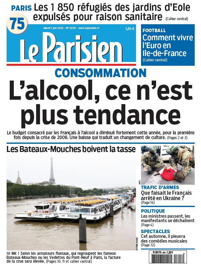 Le Parisien + Journal de Paris du Mardi 7 Juin 2016