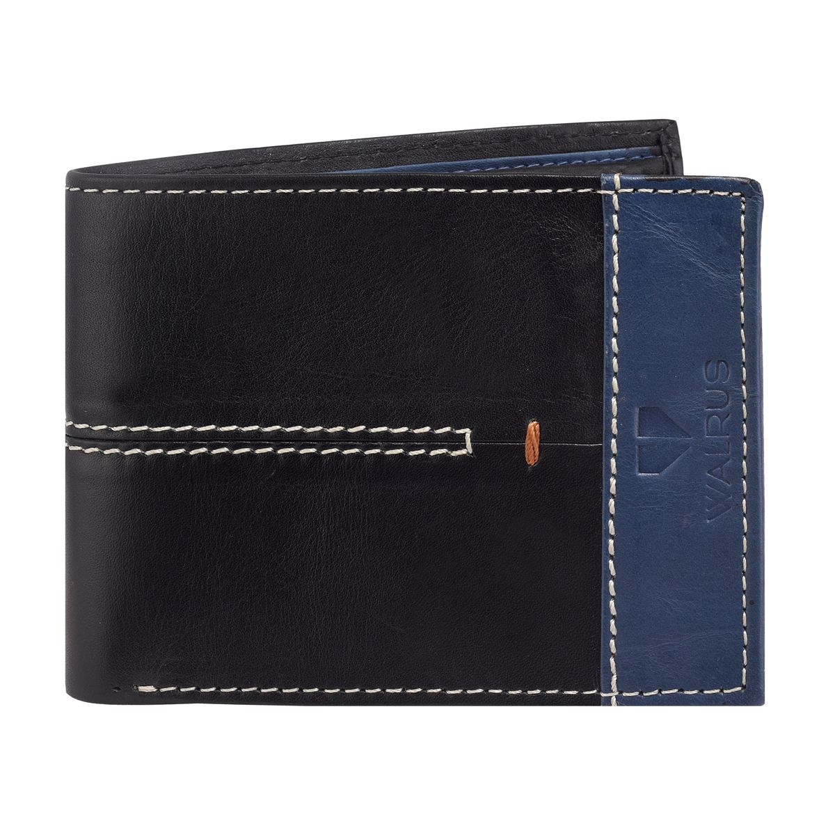 Walrus Marverick Black & Blue Color Men Leather Wallet- WW-MVK-II-0203