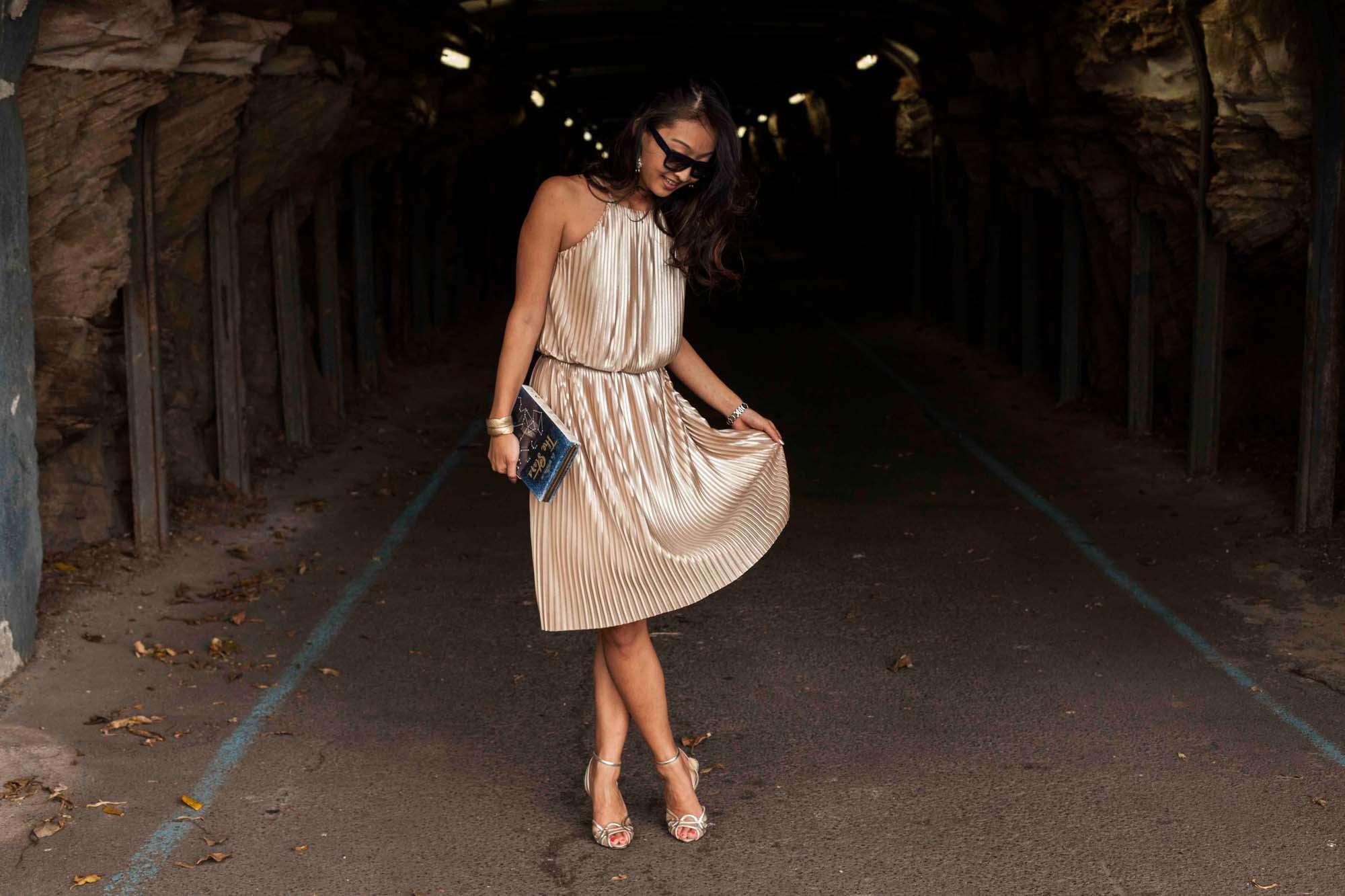Zara pleated dress - gold