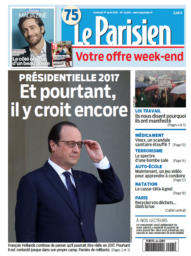 Le Parisien + Journal de Paris du Vendredi 1er Avril 2016