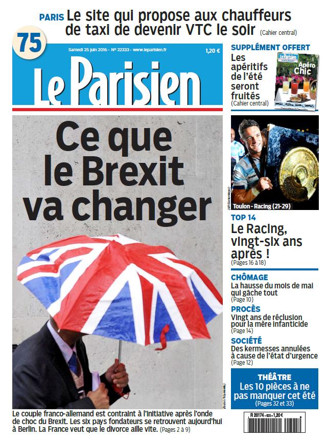 Le Parisien + Journal de Paris du Samedi 25 Juin 2016