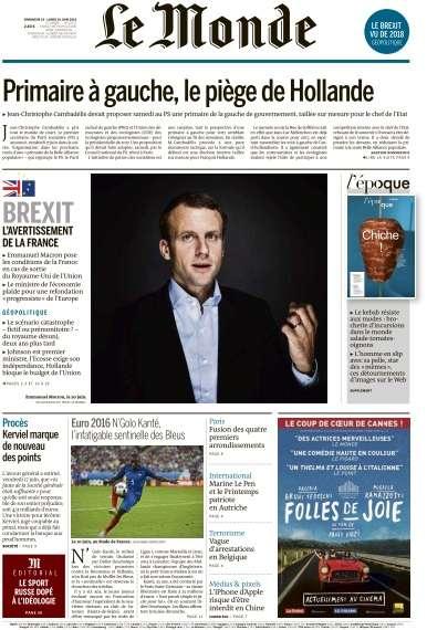 Le Monde du Dimanche 19 et Lundi 20 Juin 2016