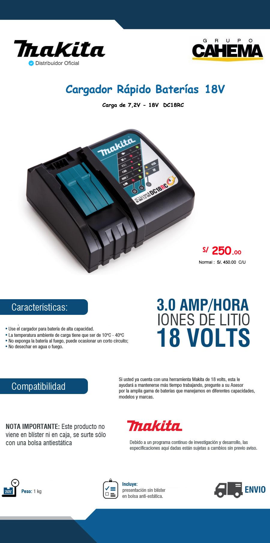 Cargador de baterias makita 18 voltios dcr18rc s 250 sbejl precio d per - Cargador de pilas precio ...