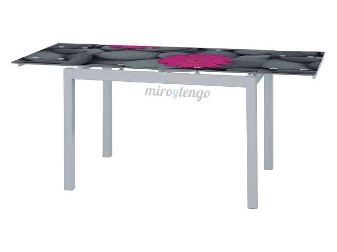 Mesa de cocina comedor extensible 170x70cm cristal templado serigrafiado ebay - Mesa cocina cristal templado ...