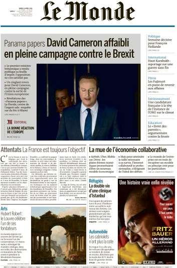 Le Monde du Mardi 12 Avril 2016