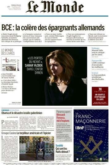 Le Monde du Vendredi 15 Avril 2016