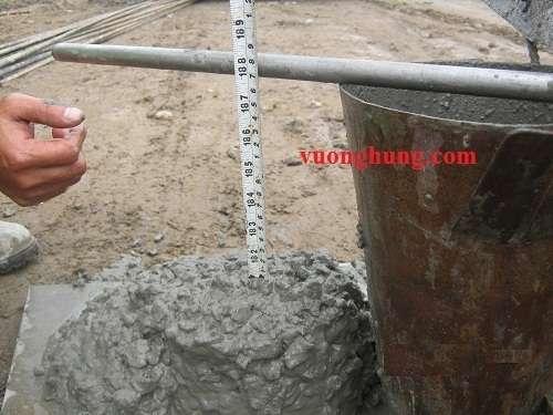 kiểm tra độ sụt bê tông cọc nhồi