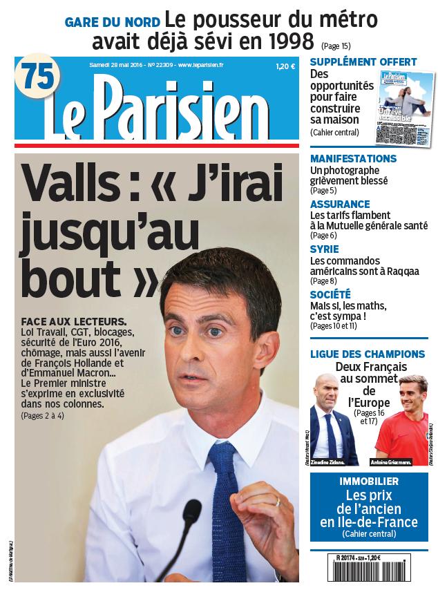 Le Parisien + Journal de Paris du Samedi 28 mai 2016