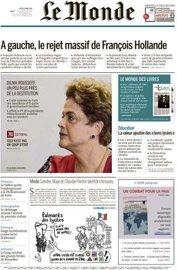 Le Monde du Jeudi 31 Mars 2016