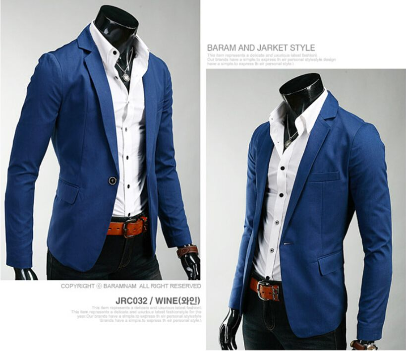 HOT Design Men's Casual Slim Fit One Button Suit Blazer Autumn Men Coats Jacket