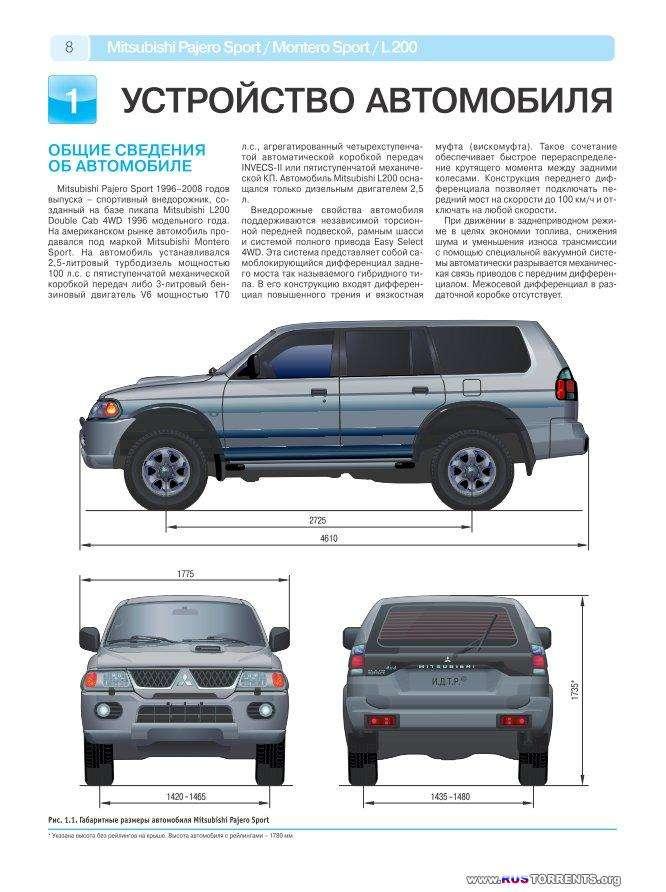 Mitsubishi Pajero Sport / Montero Sport / L200. ������ � 1996-2008 �. ����������� �� ������������, ������������ ������������ � �������