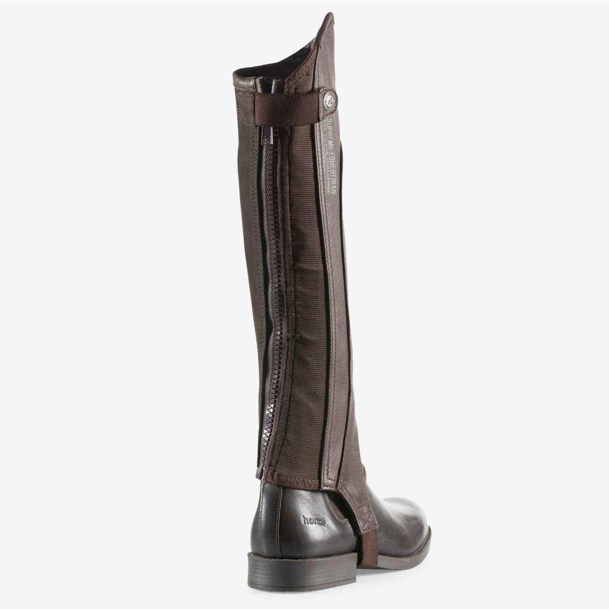 Horze Supreme Quinton Soft Leather Half Chaps Nubuck Leather for Grip