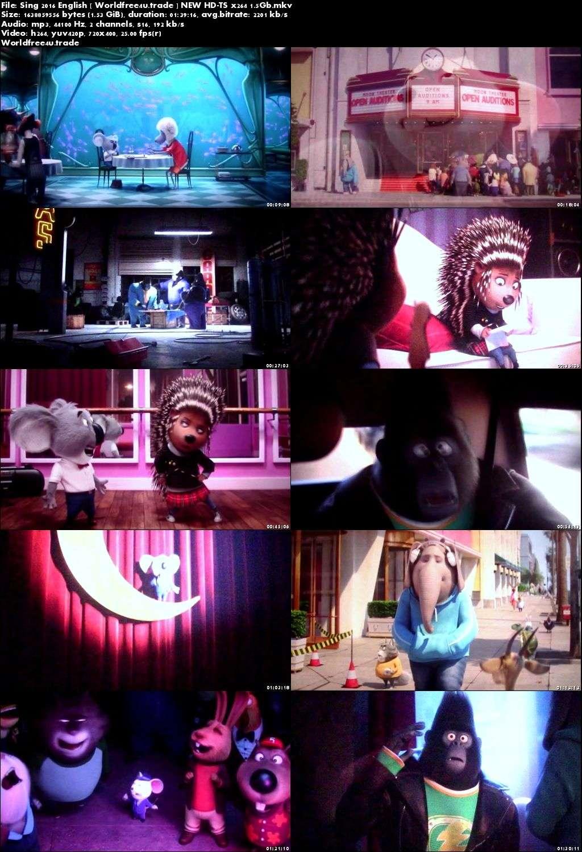 Screen Shoot of Sing 2016 Full Movie HDTS 720p English x264 1Gb at worldfree4u