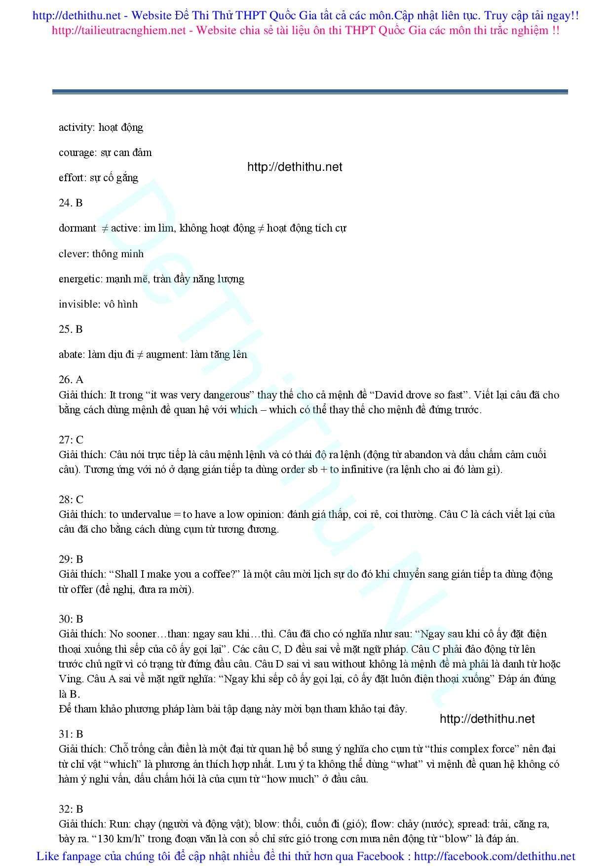 Đề thi thử tiếng Anh 2017 đáp án giải chi tiết số 14 cô Phan Điệu