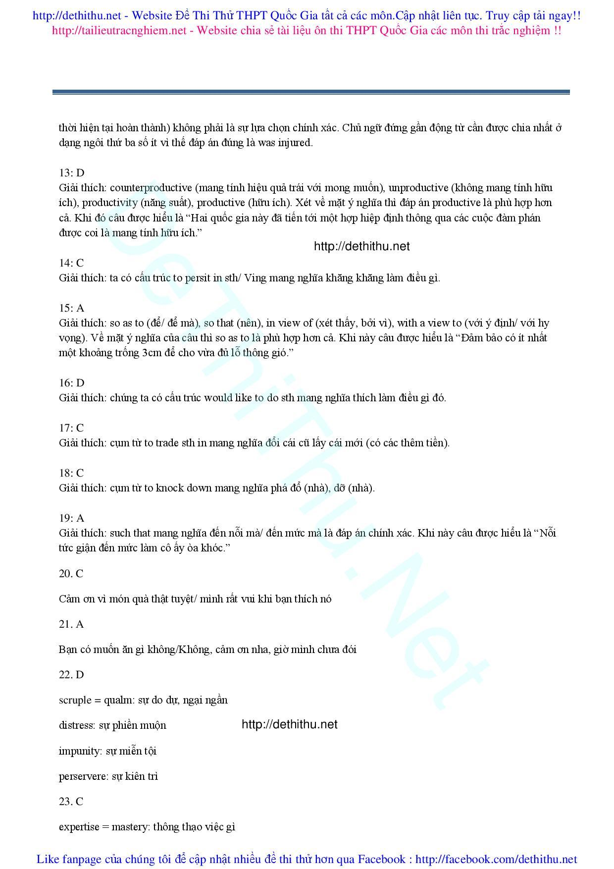 Đề Thi Thử Tiếng Anh THPT Quốc Gia 2017 ĐỀ THI THỬ TIẾNG ANH ĐỀ THI THỬ MÔN ANH  de thi thu dai hoc tieng anh  Đề thi thử tiếng Anh 2017 đáp án giải chi tiết số 14 cô Phan Điệu