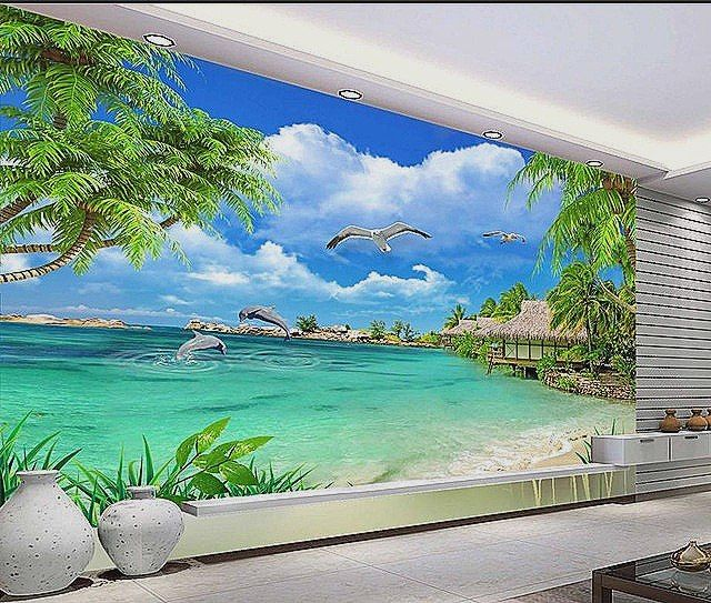 Tranh dan tuong 3d phong canh bien 8741
