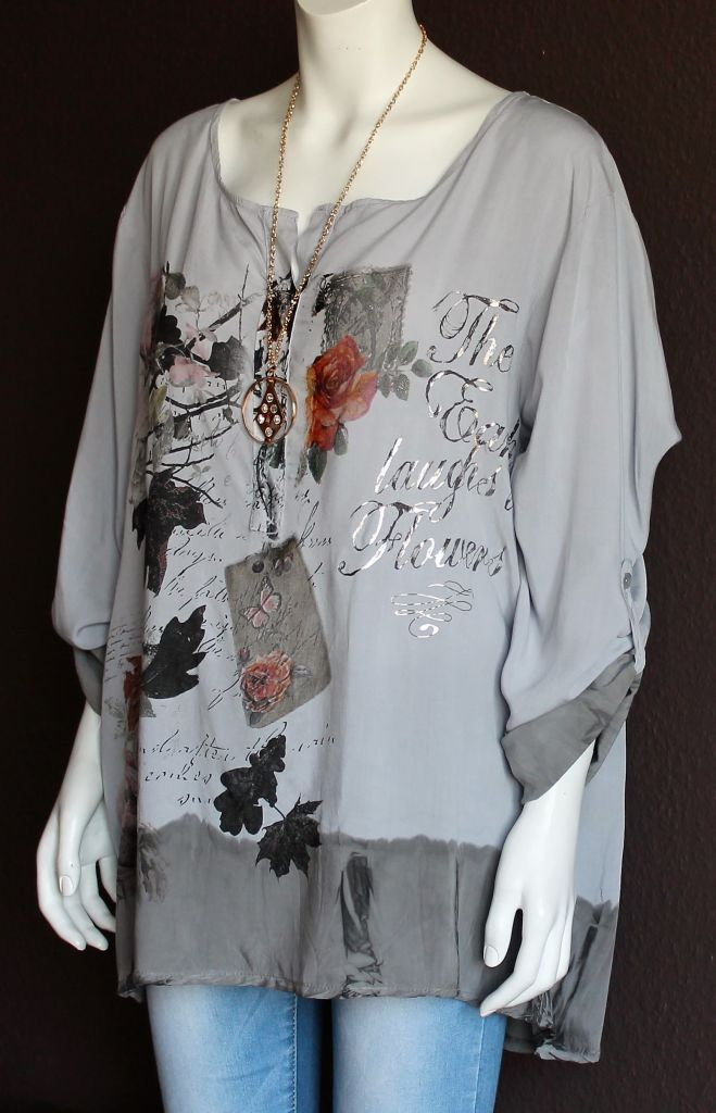 damen t shirt bluse tunika glitzer batik mit rosen 46 48 50 italy ebay. Black Bedroom Furniture Sets. Home Design Ideas