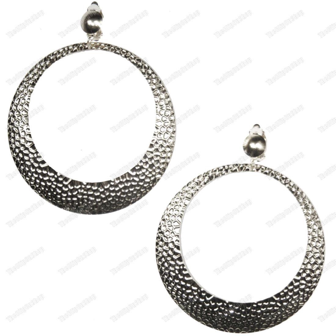 clip on 4 quot large 9cm hammered hoops hoop earrings gold